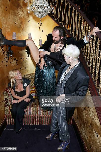 Kate Moss Andreas Kronthaler and Vivienne Westwood attend Anotherman 10th anniversary party at Lou Lou's 5 Hertford Street Mayfair on June 15 2015 in...