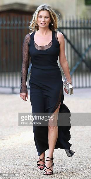 Kate Moss arrives for a dinner to celebrate the work of The Royal Marsden hosted by the Duke of Cambridge at Windsor Castle on May 13 2014 in Windsor...