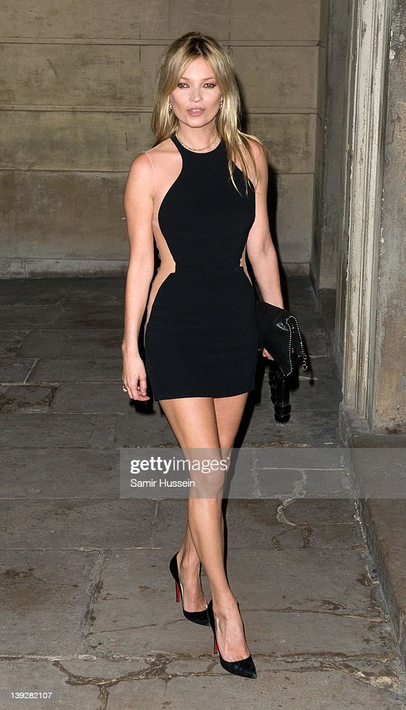 Kate Moss arrives for the Stella McCartney Special Presentation at 13 North Audley Street during London Fashion Week Autumn/Winter 2012 on February...