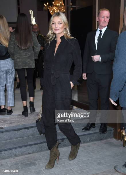 Kate Moss arrives for the TOPSHOP Fashion show during London Fashion Week September 2017 on September 17 2017 in London England