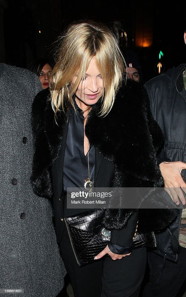 Kate Moss at the Wolseley restaurant on January 23, 2013 in London, England.