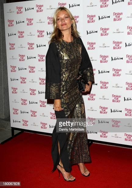 Kate Moss attend an olympic celebration dinner hosted by Naomi Campbell in partnership with Fashion For Relief at London's Downtown Mayfair on August...