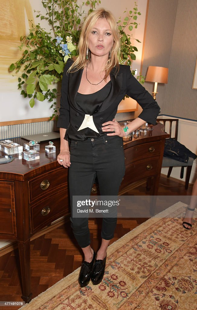 <a gi-track='captionPersonalityLinkClicked' href=/galleries/search?phrase=Kate+Moss&family=editorial&specificpeople=201830 ng-click='$event.stopPropagation()'>Kate Moss</a> attends a cocktail reception to preview Ara Vartanian's Unique Jewellery Collection hosted by Ara Vartanian and Fran Cutler on June 17, 2015 in London, England.