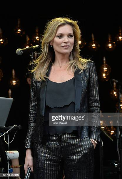 Kate Moss attends a photocall to launch the Kate Moss For TopShop collection at TopShop on April 29 2014 in London England