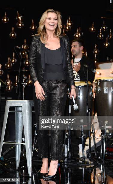 Kate Moss attends a photocall to launch the Kate Moss For TopShop collection held at TopShop Oxford Street on April 29 2014 in London England