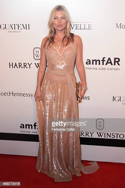 Kate Moss attends the 5th Annual amfAR Inspiration Gala at the home of Dinho Diniz on April 10 2015 in Sao Paulo Brazil