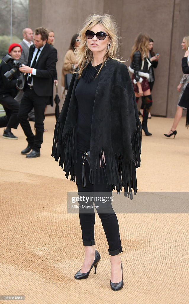 Kate Moss attends the Burberry Prosum show during London Fashion Week Fall/Winter 2015/16 at perk's Field on February 23 2015 in London England