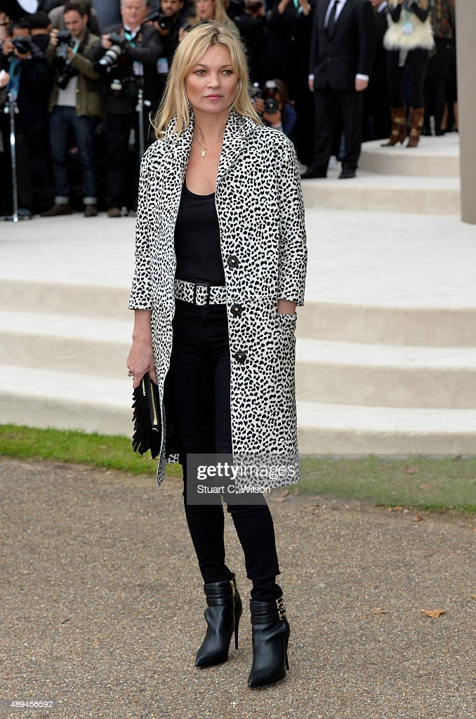 Kate Moss attends the Burberry Womenswear Spring/Summer 2016 show during London Fashion Week at Kensington Gardens on September 21, 2015 in London, England.