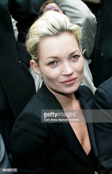 Kate Moss attends the Chanel ReadytoWear A/W 2009 fashion show during Paris Fashion Week at Grand Palais on March 10 2009 in Paris France