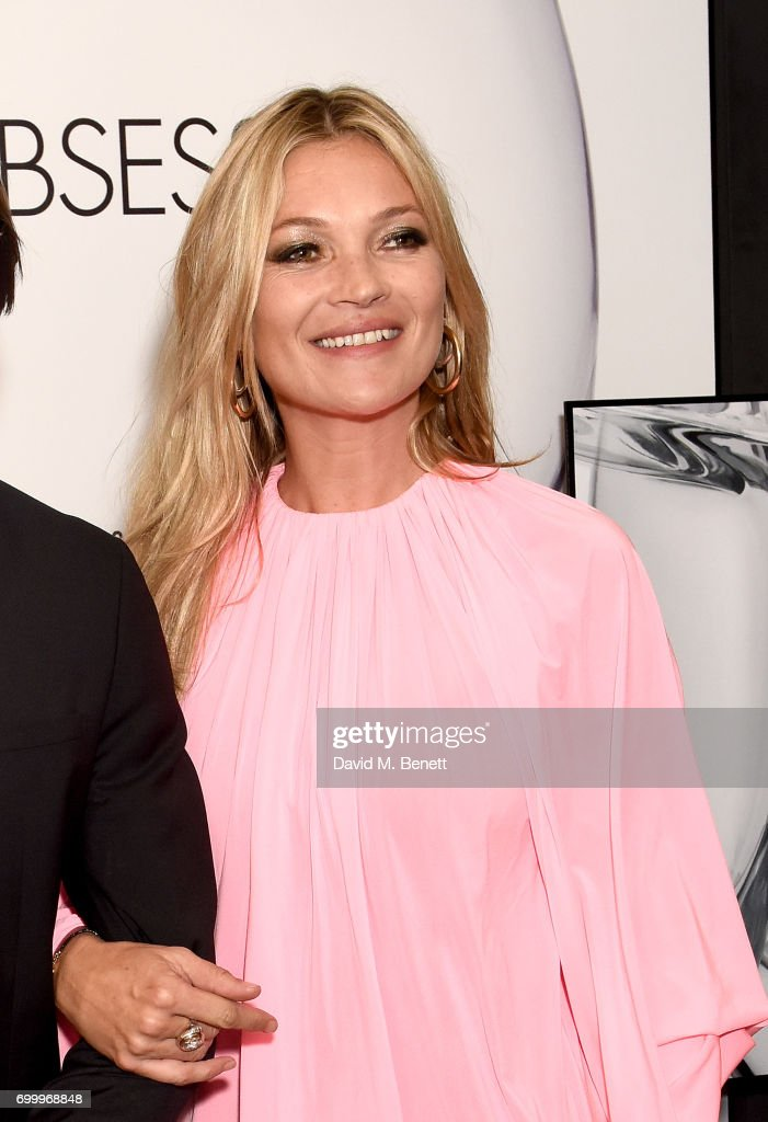 Kate Moss attends the Kate Moss & Mario Sorrenti launch of the OBSESSED Calvin Klein fragrance at Spencer House on June 22, 2017 in London, England.