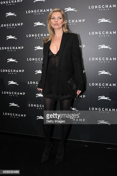 Kate Moss attends the Longchamp Elysees 'Lights on Party' Boutique Launch on December 4 2014 in Paris France