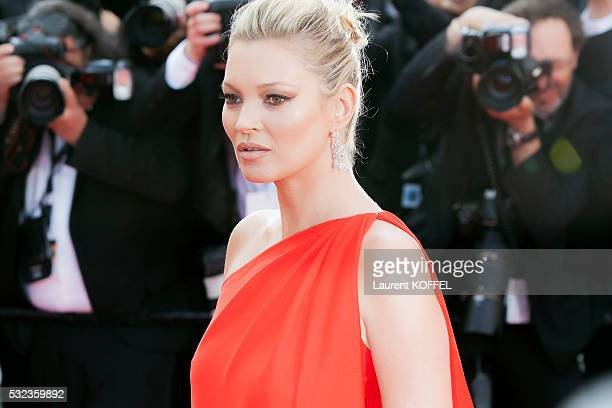 Kate Moss attends the 'Loving' red carpet arrivals during the 69th annual Cannes Film Festival at the Palais des Festivals on May 16 2016 in Cannes...