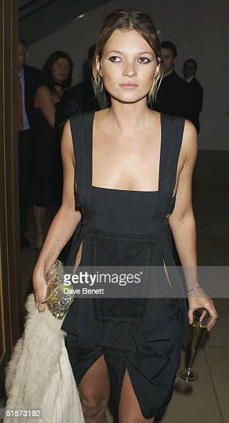 Kate Moss attends the Mario Testino Exhibition at The National Portrait Gallery on January 30 2002 in London