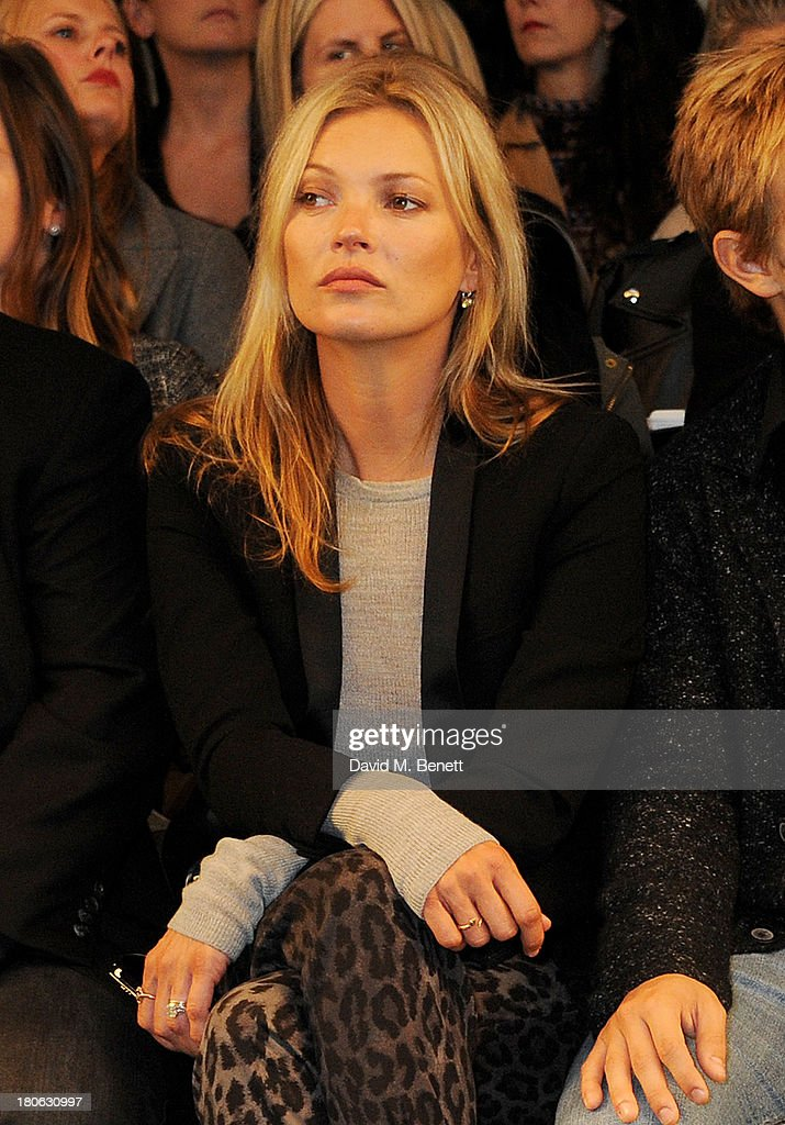 <a gi-track='captionPersonalityLinkClicked' href=/galleries/search?phrase=Kate+Moss&family=editorial&specificpeople=201830 ng-click='$event.stopPropagation()'>Kate Moss</a> attends the Unique SS14 runway show during London Fashion Week on September 15, 2013 in London, England.