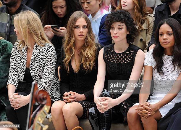 Kate Moss Cara Delevingne Annie Clark and Naomie Harris attend the Burberry Womenswear Spring/Summer 2016 show during London Fashion Week at...