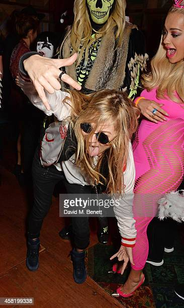 Kate Moss dressed as Cara Delevingne Fat Tony and Rita Ora attend 'Death Of A Geisha' hosted by Fran Cutler and Cafe KaiZen with Grey Goose on...