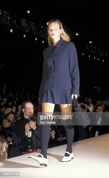 Kate Moss during Fall Fashion Week Fashion by Calvin Klein April 10 1994 at Bryant Park in New York City New York United States