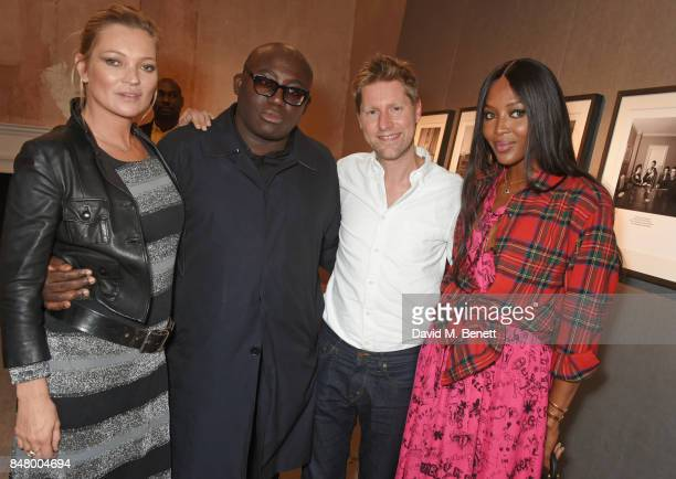 Kate Moss Edward Enninful Christopher Bailey and Naomi Campbell wearing Burberry at the Burberry September 2017 at London Fashion Week at The Old...