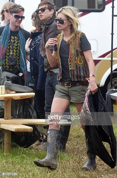Kate Moss is seen during day two of the 2008 Glastonbury Festival on June 28 2008 in Glastonbury Somerset England