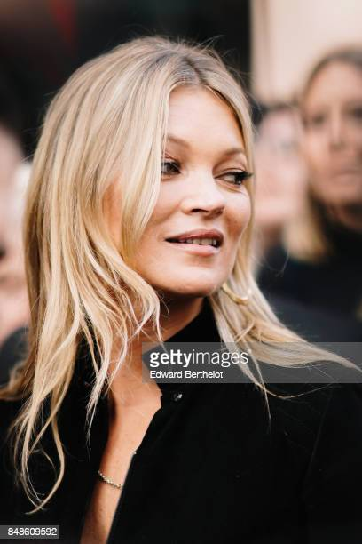 Kate Moss is seen outside Topshop during London Fashion Week September 2017 on September 17 2017 in London England