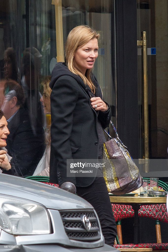 Kate Moss is sighted at the 'Cafe de Flore' on April 28, 2013 in Paris, France.