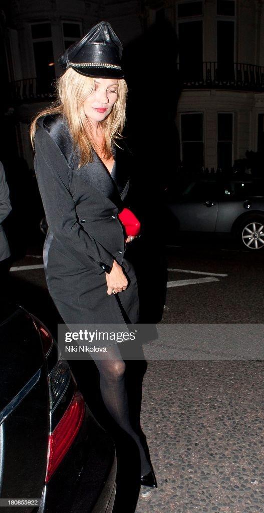 Kate Moss is sighted leaving lulu Restaurant, Mayfair on September 16, 2013 in London, England.