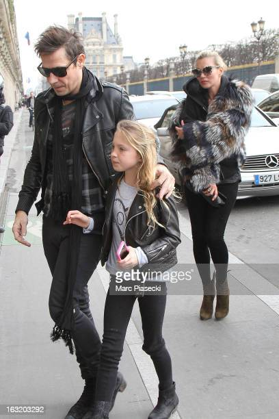 Kate Moss Jamie Hince and Lila Grace Moss are seen arriving at the 'Meurice' hotel on March 6 2013 in Paris France