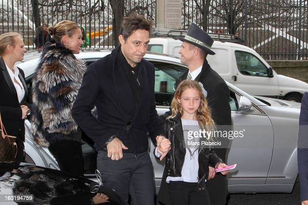 Kate Moss Jamie Hince and Lila Grace Moss are sighted arriving at their hotel on March 6 2013 in Paris France