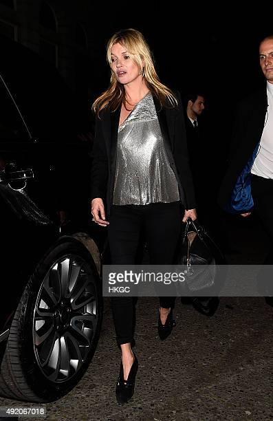 Kate Moss leaves Edition Hotel after celebrating her Daughter's birthday on October 9 2015 in London England