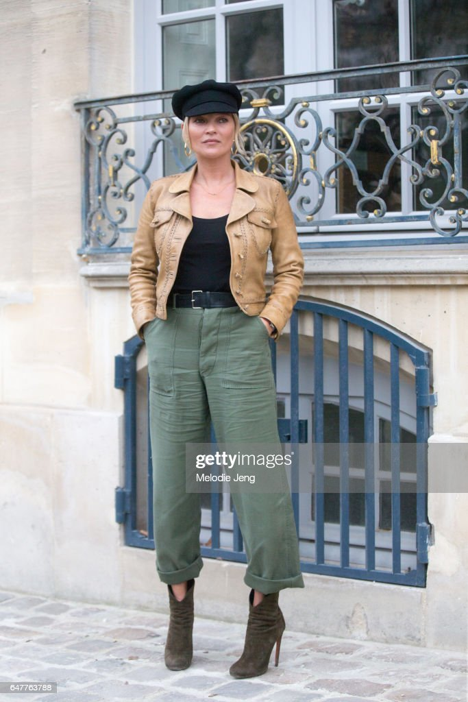 Kate Moss outside the Dior show on March 3, 2017 in Paris, France.