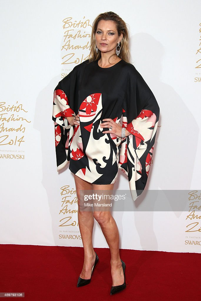 <a gi-track='captionPersonalityLinkClicked' href=/galleries/search?phrase=Kate+Moss&family=editorial&specificpeople=201830 ng-click='$event.stopPropagation()'>Kate Moss</a> poses in the winners room at the British Fashion Awards at London Coliseum on December 1, 2014 in London, England.