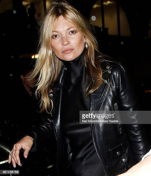 Kate Moss seen arriving at 62 Buckingham gate to attend the Maison Margiela Couture Show on January 12 2015 in London England Photo by Neil...