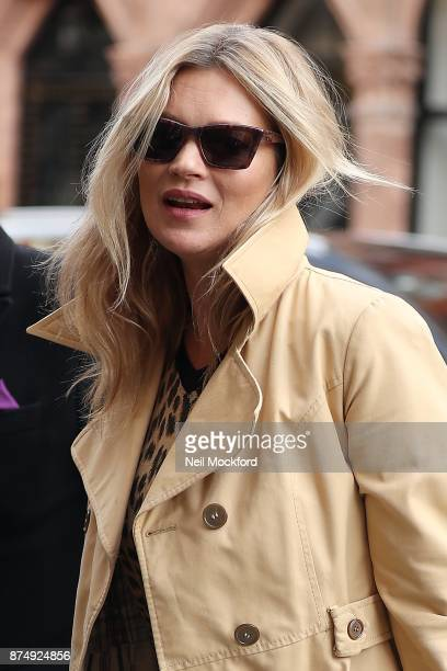 Kate Moss seen arriving at Scott's restaurant in Mayfair on November 16 2017 in London England