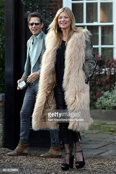 Kate Moss seen on her 41st birthday leaving her home with Jamie Hince on January 16 2015 in London England