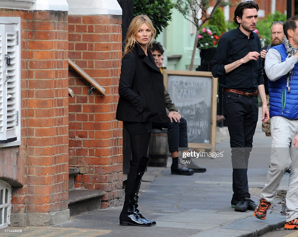 <a gi-track='captionPersonalityLinkClicked' href=/galleries/search?phrase=Kate+Moss&family=editorial&specificpeople=201830 ng-click='$event.stopPropagation()'>Kate Moss</a> sighted during a shoot for shoe designer Stuart Weitzman on June 24, 2013 in London, England.