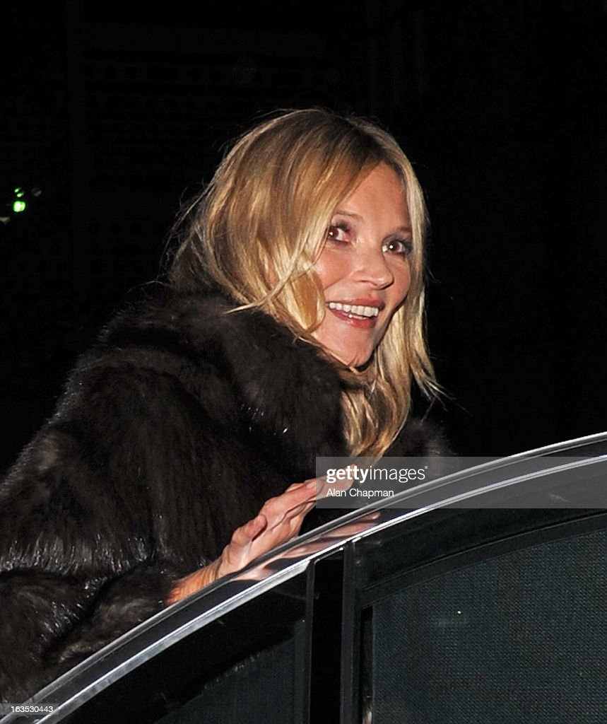 Kate Moss sighting at Claridges on March 11, 2013 in London, England.