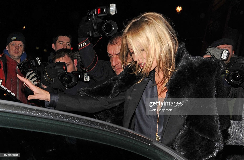 Kate Moss sighting on January 23, 2013 in London, England.