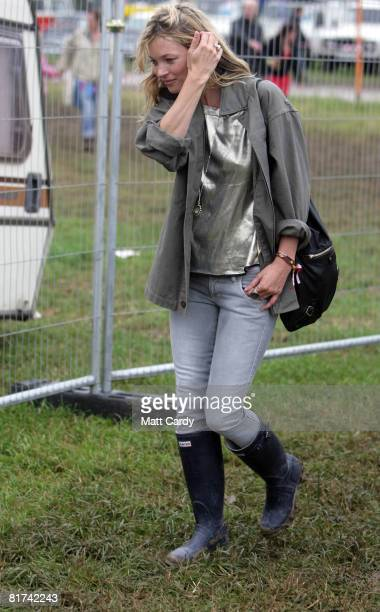 Kate Moss walks to see The Kills play on the John Peel Stage at the Glastonbury Festival as KT Tunstall performs on June 27 2008 in Glastonbury...