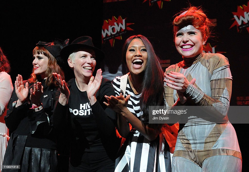 Kate Nash, Annie Lennox, VV Brown and Paloma Faith applaud following the 'Women Of The World: Equals' live concert to celebrate the 100th anniversary of Internatioanl Women's Day at the Royal Festival Hall on March 11, 2011 in London, England.