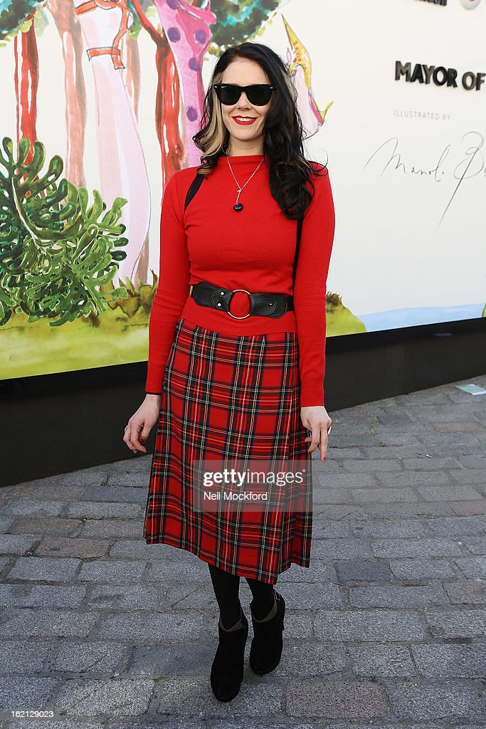 Kate Nash is pictured arriving at Somerset House during London Fashion Week on February 19, 2013 in London, England.
