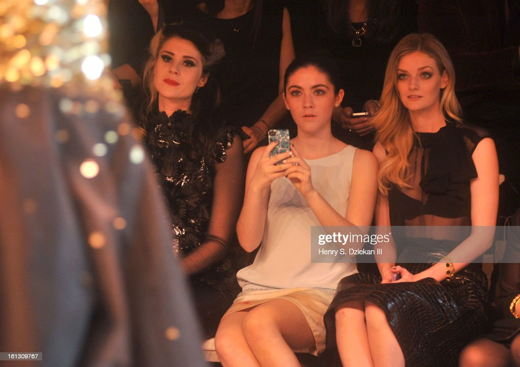Kate Nash, Isabelle Fuhrman and Lydia Hearst attend Christian Siriano during Fall 2013 Mercedes-Benz Fashion Week at Eyebeam on February 9, 2013 in New York City.