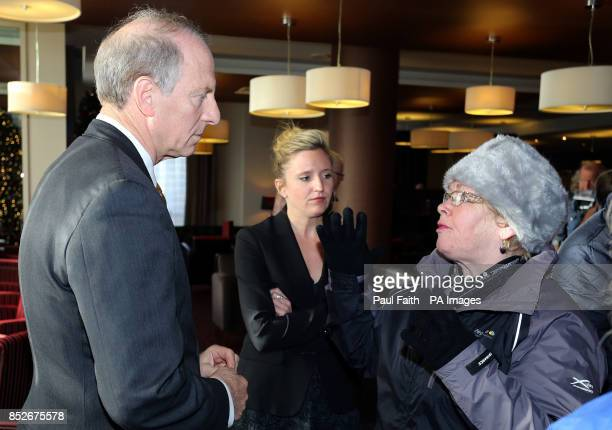 Kate Nash whose brother William was killed by British soldiers on Bloody Sunday in 1972 confronts former US diplomat Dr Richard Haass at the City...