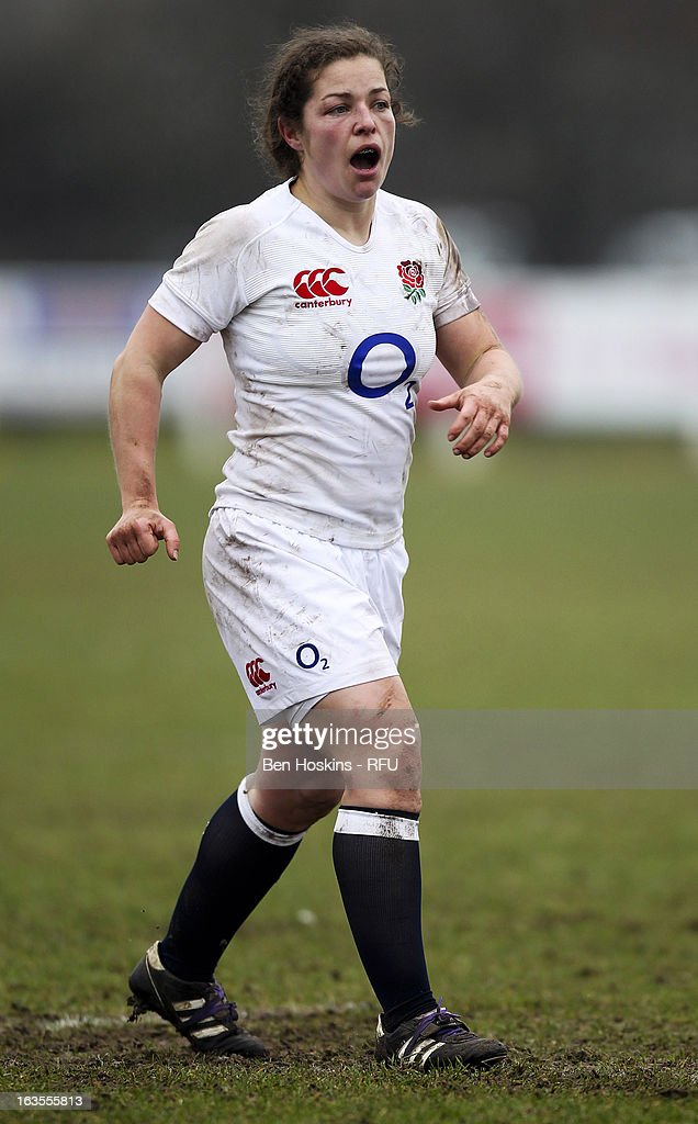 Kate Newton of England in action during the Women's RBS Six Nations match between England and Italy at Esher Rugby Club on March 09, 2013 in Esher, England.