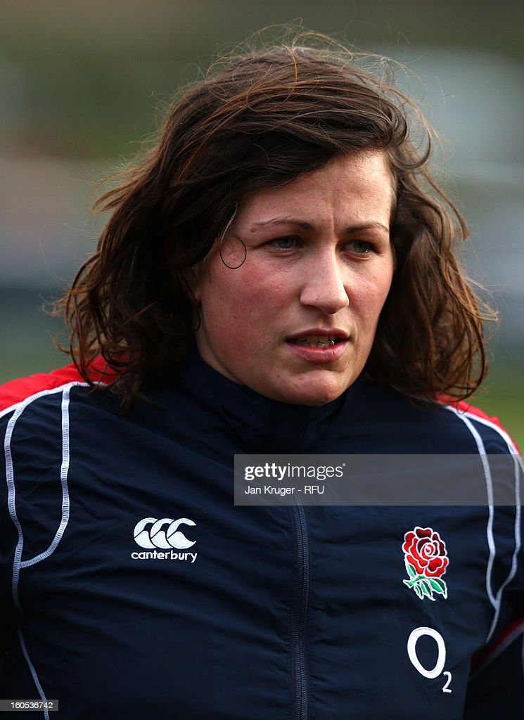 Kate Newton of England Women lines up for the anthem during the Womens Six Nations match between England and Scotland at Esher RFC on February 2, 2013 in Esher, England.