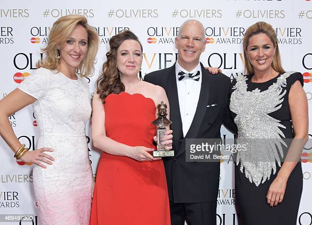 Kate Pakenham Josie Rourke and David Zippel winners of the Best Musical Revival for 'City Of Angels' and presenter Claire Sweeney pose in the winners...