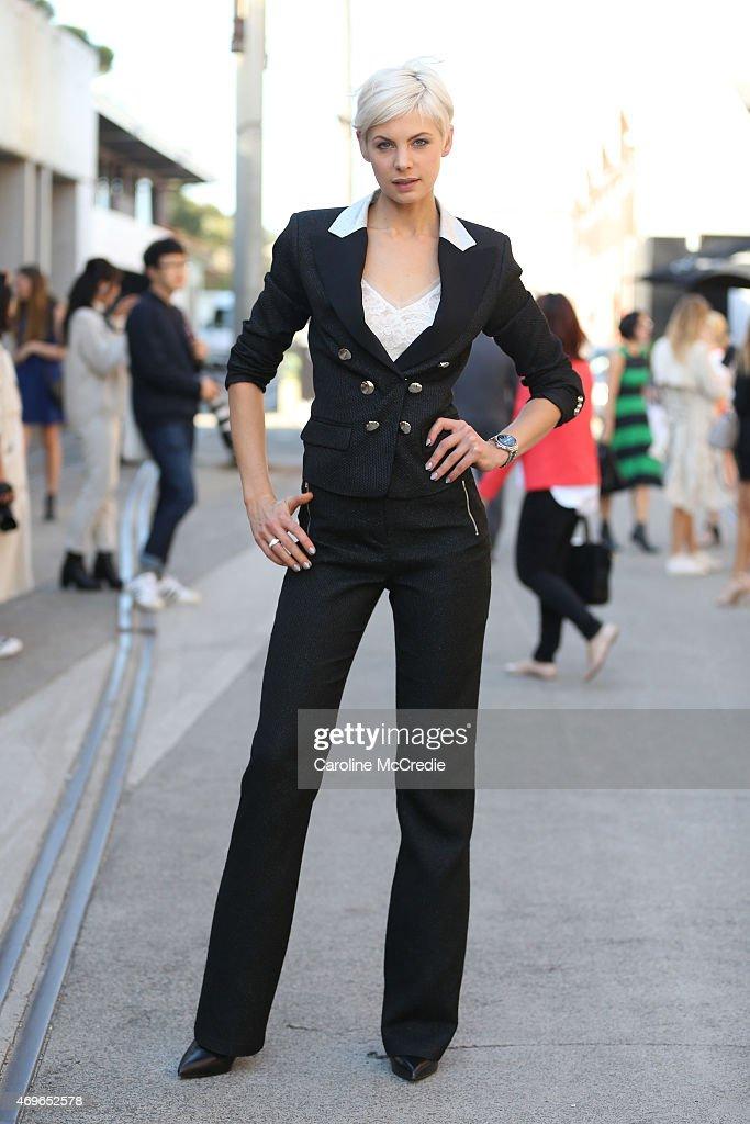Kate Peck wearing Jason Brunsdon at MercedesBenz Fashion Week Australia 2015 at Carriageworks on April 14 2015 in Sydney Australia