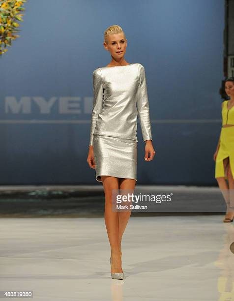 Kate Peck wearing White Suede during the Myer Spring 2015 Fashion Launch on August 13 2015 in Sydney Australia