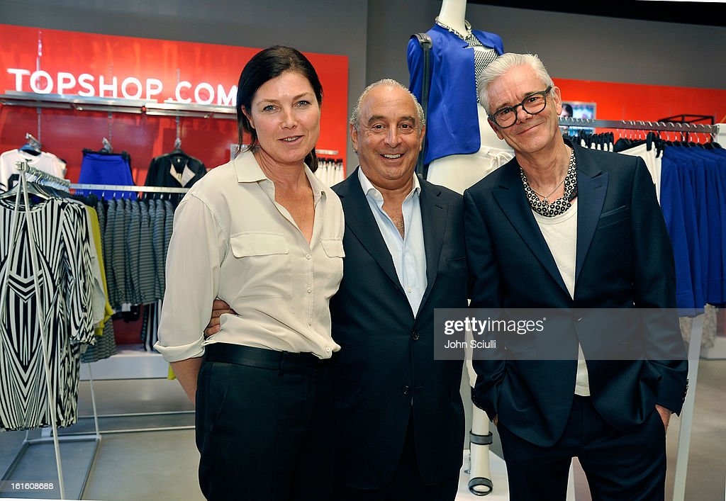 Kate Phelan, Creative Director of TOPSHOP, Sir <a gi-track='captionPersonalityLinkClicked' href=/galleries/search?phrase=Philip+Green+-+British+Businessman&family=editorial&specificpeople=220418 ng-click='$event.stopPropagation()'>Philip Green</a> and Gordon Richardson, Creative Director of TOPMAN attend the press day at Topshop Topman at the Grove on February 12, 2013 in Los Angeles, California.