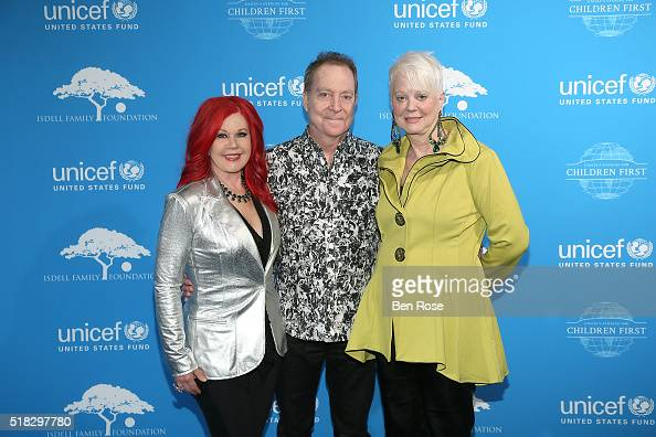 Kate Pierson Fred Schneider and Cindy Wilson of the B52s attend UNICEF's Evening for Children First to Honor Ted Turner on March 30 2016 in Atlanta...