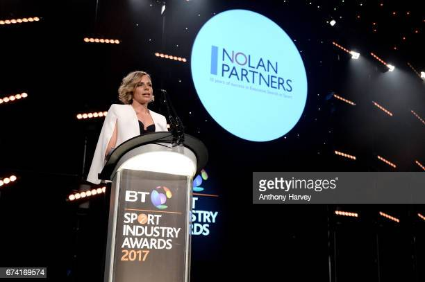 Kate RichardsonWalsh presents the Leadership in Sport award in association with Nolan Partners during the BT Sport Industry Awards 2017 at Battersea...